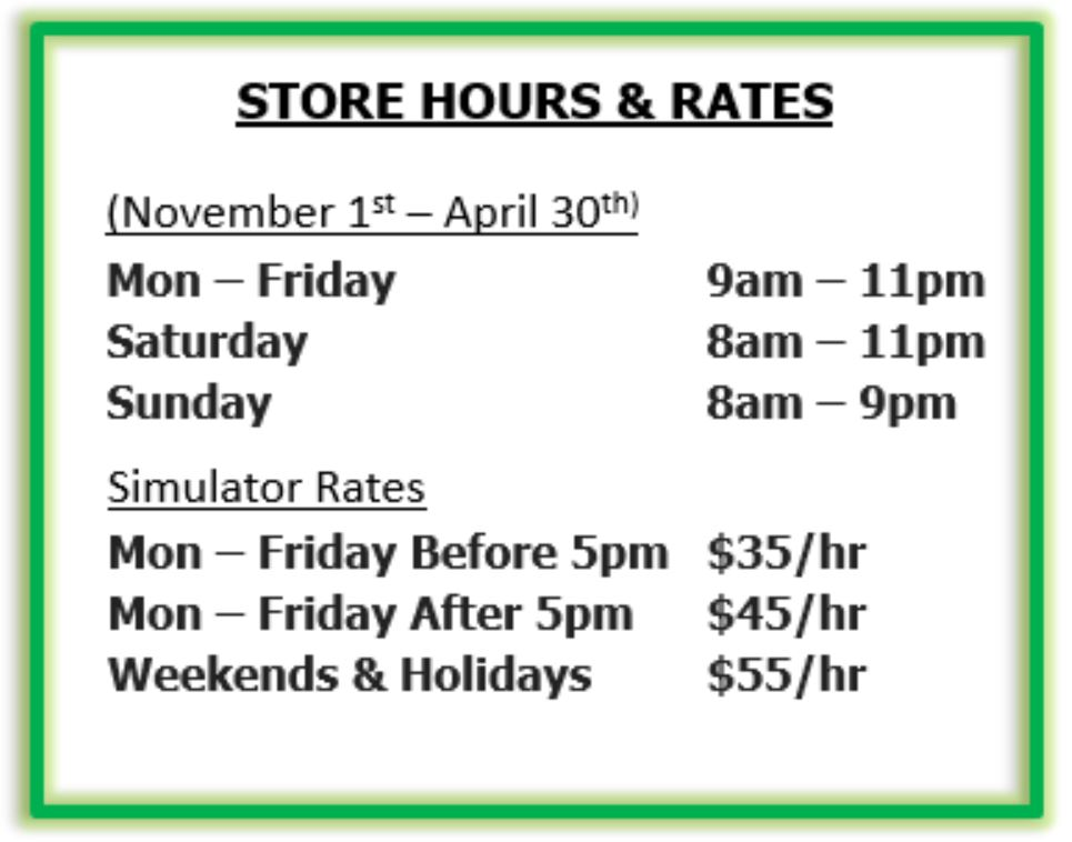 Store hours Winter 2018